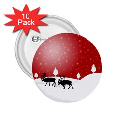 Reindeer In Snow 2.25  Buttons (10 pack)  by Nexatart