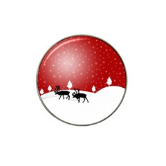 Reindeer In Snow Hat Clip Ball Marker (10 Pack) by Nexatart