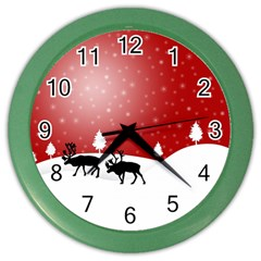 Reindeer In Snow Color Wall Clocks
