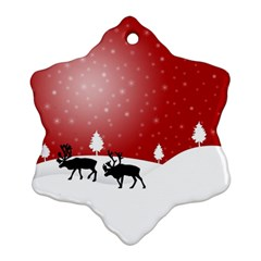 Reindeer In Snow Snowflake Ornament (two Sides)