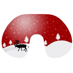 Reindeer In Snow Travel Neck Pillows by Nexatart