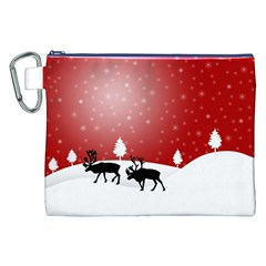 Reindeer In Snow Canvas Cosmetic Bag (xxl) by Nexatart