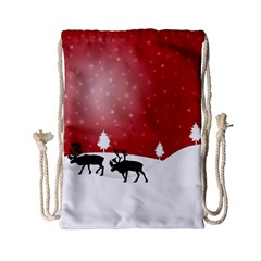 Reindeer In Snow Drawstring Bag (small) by Nexatart
