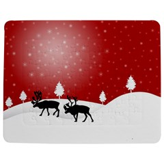 Reindeer In Snow Jigsaw Puzzle Photo Stand (rectangular) by Nexatart