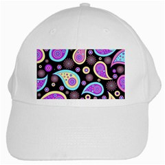 Paisley Pattern Background Colorful White Cap by Nexatart