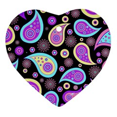 Paisley Pattern Background Colorful Ornament (heart)