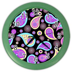 Paisley Pattern Background Colorful Color Wall Clocks