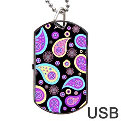 Paisley Pattern Background Colorful Dog Tag Usb Flash (one Side) by Nexatart