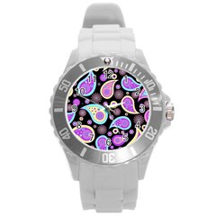 Paisley Pattern Background Colorful Round Plastic Sport Watch (l) by Nexatart