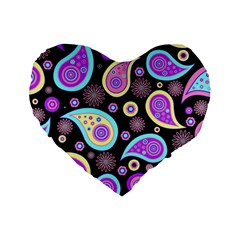 Paisley Pattern Background Colorful Standard 16  Premium Flano Heart Shape Cushions by Nexatart