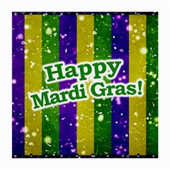 Happy Mardi Gras Poster Medium Glasses Cloth (2 Side) by dflcprints