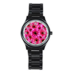 Gerbera Flower Nature Pink Blosso Stainless Steel Round Watch