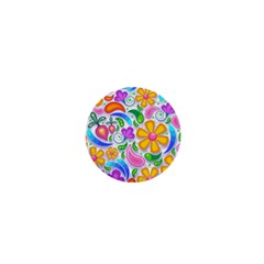 Floral Paisley Background Flower 1  Mini Buttons by Nexatart