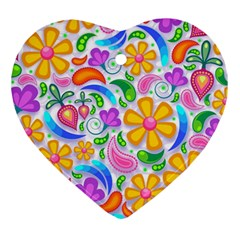 Floral Paisley Background Flower Ornament (heart)