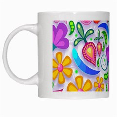 Floral Paisley Background Flower White Mugs by Nexatart