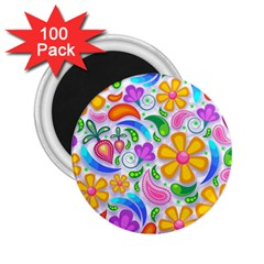 Floral Paisley Background Flower 2 25  Magnets (100 Pack)