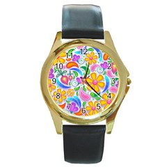 Floral Paisley Background Flower Round Gold Metal Watch by Nexatart