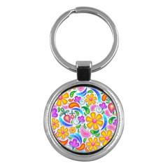Floral Paisley Background Flower Key Chains (round)  by Nexatart