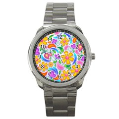 Floral Paisley Background Flower Sport Metal Watch by Nexatart