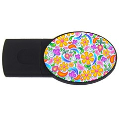 Floral Paisley Background Flower Usb Flash Drive Oval (4 Gb) by Nexatart