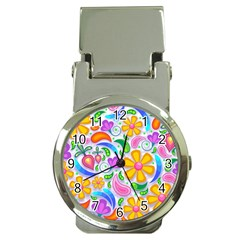 Floral Paisley Background Flower Money Clip Watches by Nexatart