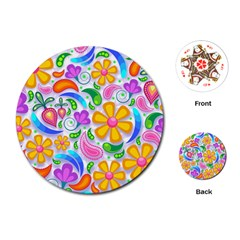 Floral Paisley Background Flower Playing Cards (round)  by Nexatart