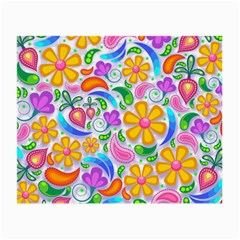 Floral Paisley Background Flower Small Glasses Cloth (2 Side) by Nexatart