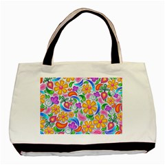 Floral Paisley Background Flower Basic Tote Bag (two Sides)
