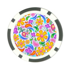 Floral Paisley Background Flower Poker Chip Card Guard