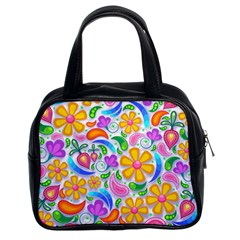 Floral Paisley Background Flower Classic Handbags (2 Sides) by Nexatart