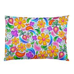 Floral Paisley Background Flower Pillow Case by Nexatart