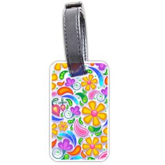 Floral Paisley Background Flower Luggage Tags (one Side)