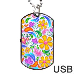 Floral Paisley Background Flower Dog Tag Usb Flash (one Side) by Nexatart