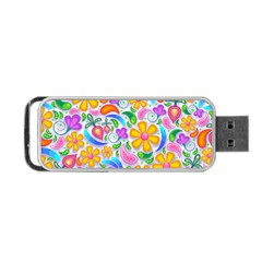 Floral Paisley Background Flower Portable Usb Flash (two Sides) by Nexatart