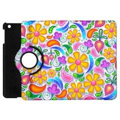 Floral Paisley Background Flower Apple Ipad Mini Flip 360 Case by Nexatart