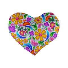 Floral Paisley Background Flower Standard 16  Premium Heart Shape Cushions by Nexatart