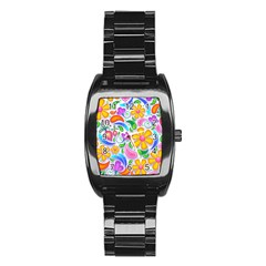 Floral Paisley Background Flower Stainless Steel Barrel Watch by Nexatart