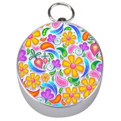 Floral Paisley Background Flower Silver Compasses