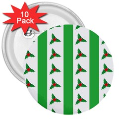 Holly 3  Buttons (10 Pack)