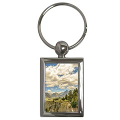 Valley And Andes Range Mountains Latacunga Ecuador Key Chains (rectangle)  by dflcprints