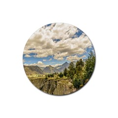 Valley And Andes Range Mountains Latacunga Ecuador Rubber Round Coaster (4 Pack)  by dflcprints