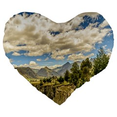 Valley And Andes Range Mountains Latacunga Ecuador Large 19  Premium Heart Shape Cushions by dflcprints
