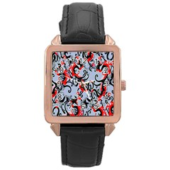 Dragon Pattern Rose Gold Leather Watch