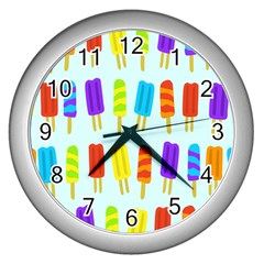 Food Pattern Wall Clocks (silver)  by Nexatart