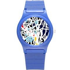 Abstraction Round Plastic Sport Watch (s) by Valentinaart