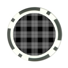 Plaid Checks Background Black Poker Chip Card Guard