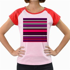 Stripes Colorful Background Women s Cap Sleeve T Shirt