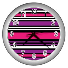 Stripes Colorful Background Wall Clocks (silver)  by Nexatart