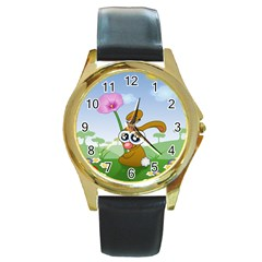 Easter Spring Flowers Happy Round Gold Metal Watch by Nexatart