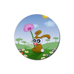 Easter Spring Flowers Happy Rubber Coaster (round)  by Nexatart